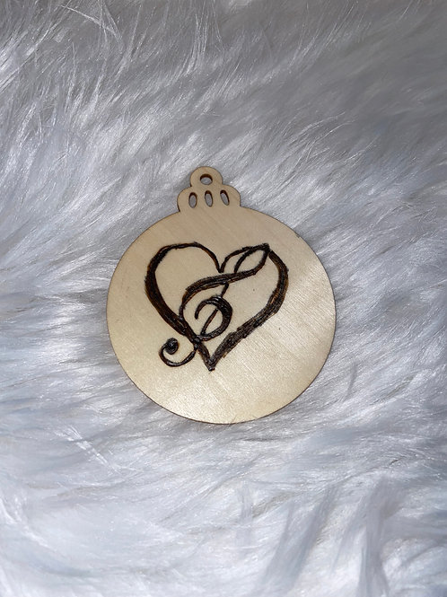Heart Music Note Wood Ornaments