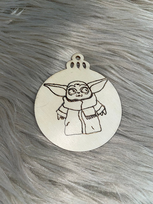 Baby Yoda With Scarf Wood Ornament