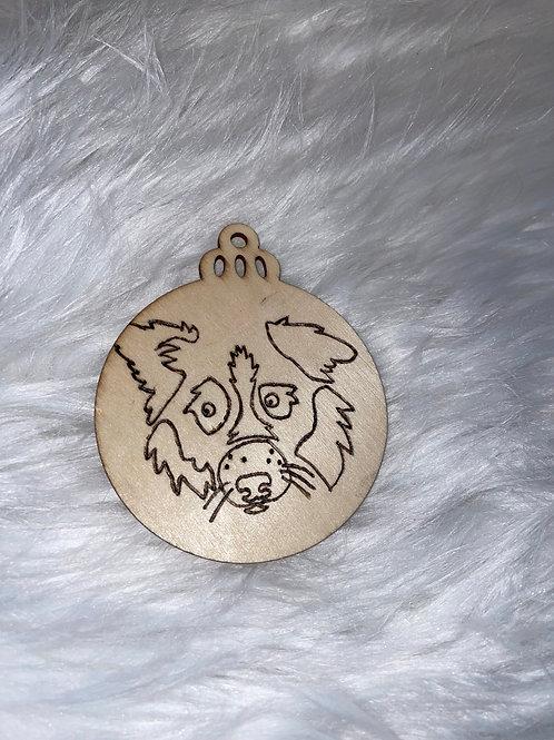 Border Collie Wood Ornament