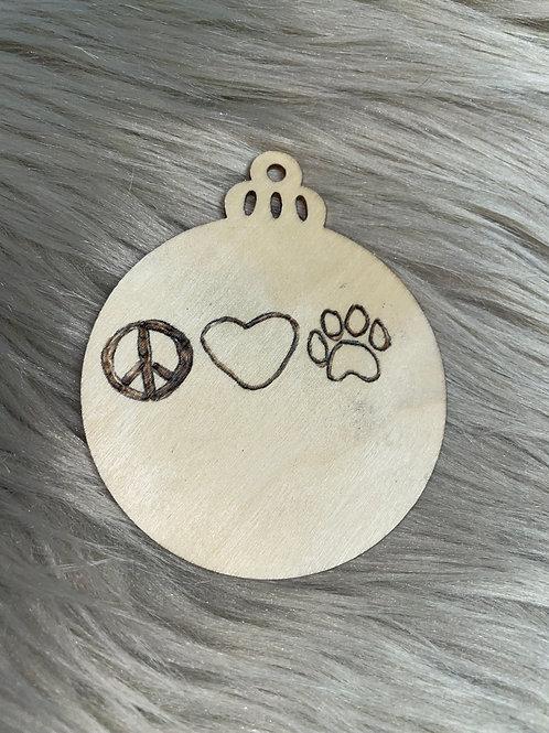 Peace Love Paw Print Wood Ornament