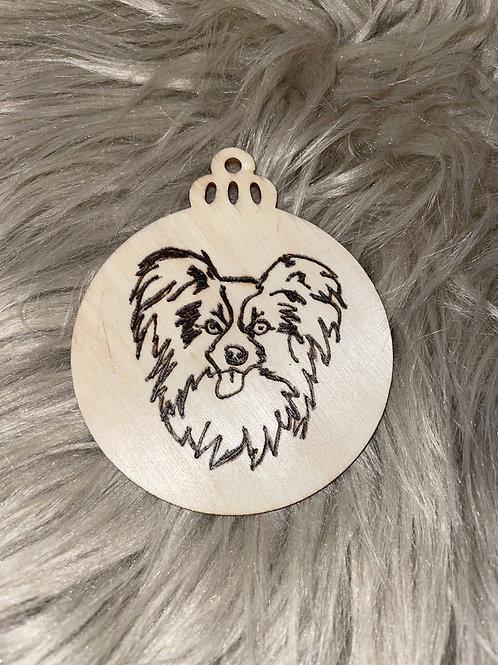 Papillon Dog Wood Ornament