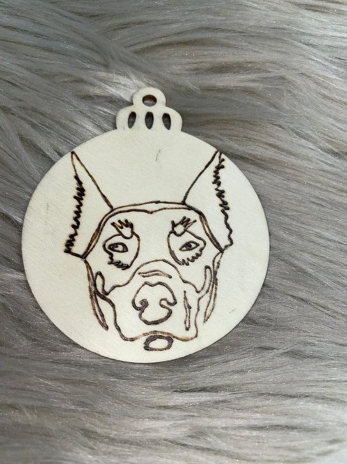 Doberman Pinscher 1 Wood Ornament