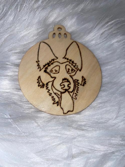 German Shepard Wood Ornament