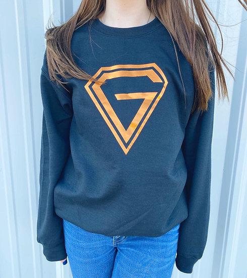 """Orange Foil """"G"""" Crewneck Sweater"""