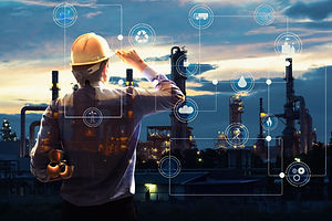 Double exposure of Engineer with oil refinery industry plant background,  industrial instruments in