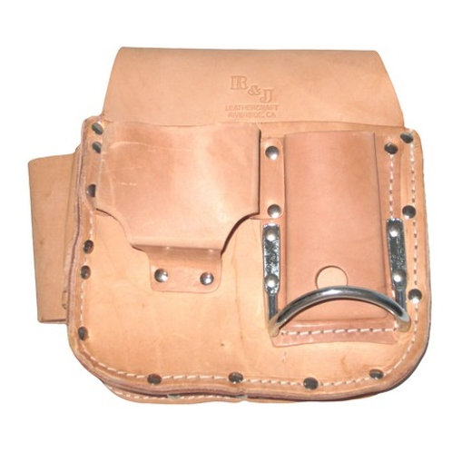 R & J Leathercraft 3-Pocket Top Grain Leather Drywall Tool Pouch