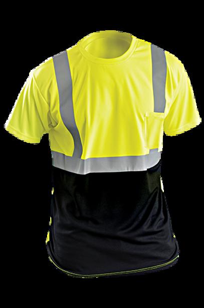 Occunomix ANSI Class 2 High Visibility T-Shirt - Yellow w/Black Bottom