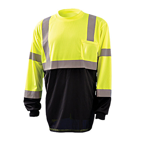 Occunomix ANSI Class 3 High Visibility Long Sleeve Shirt w/Black Bottom