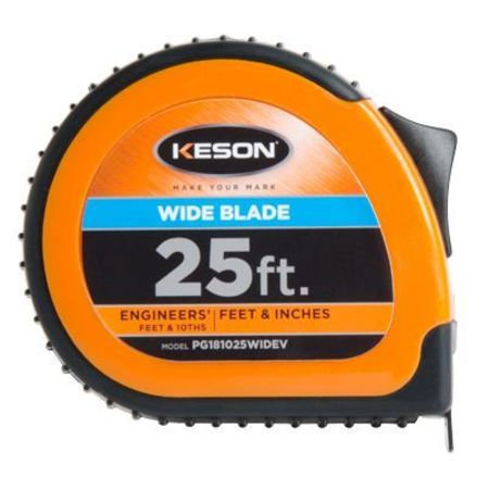 Keson Wide Blade Pocket Tape 25' Tenths & Inches