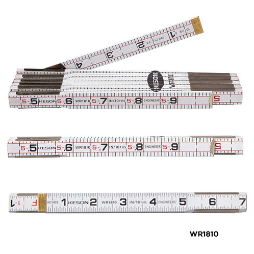 Keson 6' Folding Wood Ruler - Engineers' & Inches