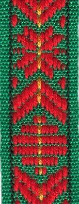 Klassiskt allmogeband 15mm Grön/Röd