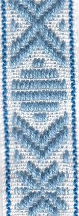 Klassiskt allmogeband 15mm Vit/Blå