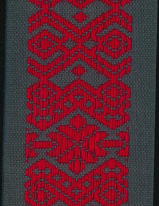 Hemslöjdsband Grå/Röd 50mm