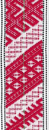 Hemslöjdsband 30mm Röd/Vit