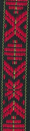 Klassiskt allmogeband 15mm Mörkgrön/Röd