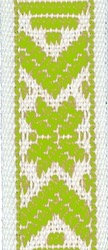 Klassiskt allmogeband 15mm Limegrön/Vit