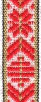 Klassiskt allmogeband 15mm Röd/Vit