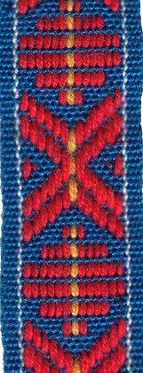 Klassiskt allmogeband 15mm Blå/Röd