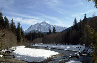 Mt Shuksan dominates the horizon over the North Fork Nooksack River. Photo: Bonnie Rice
