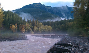 The North Fork Nooksack River near the confluence with Glacier Creek.