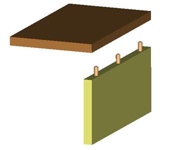 Fig 2 - Assemblage par tourillon - Montage en L.