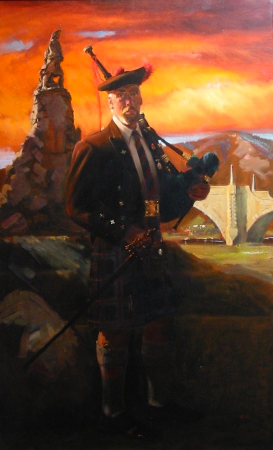 Mcinlay in front of the Black Watch Memorial