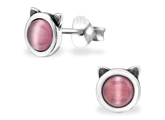 Tiny Rose Quartz Cat Head Stud Earrings