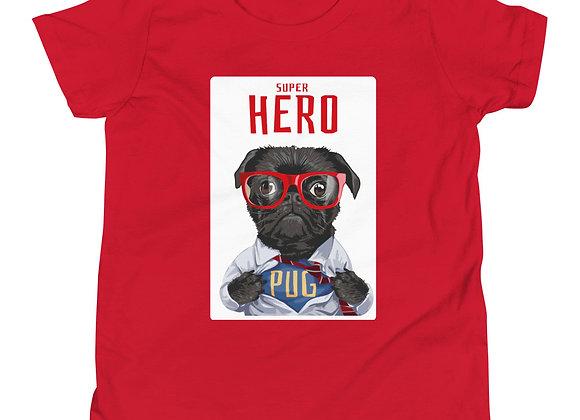 Super Hero Pug Youth Short Sleeve T-Shirt