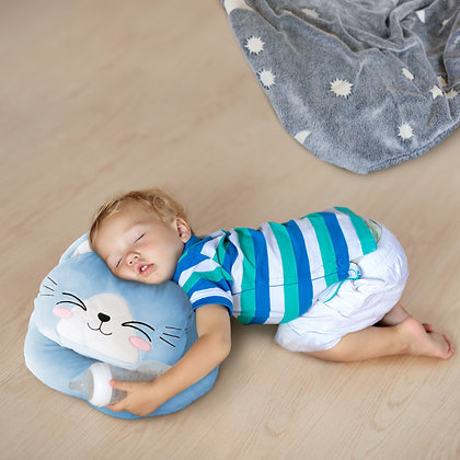 Glow in the dark Blanket, Moon Stars & Cat Neck Pillow-Blue