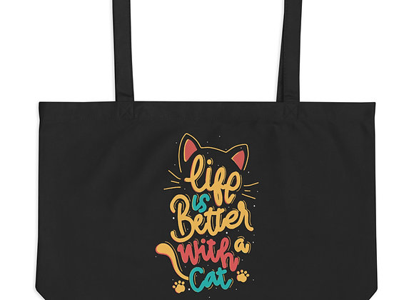 Life is Better with a Cat Large organic tote bag