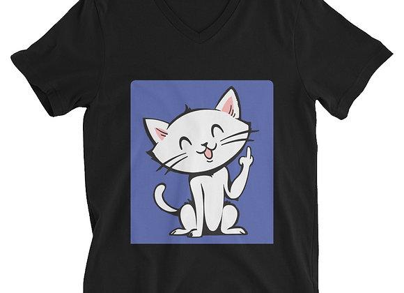 Flippy Cat Unisex Short Sleeve V-Neck T-Shirt