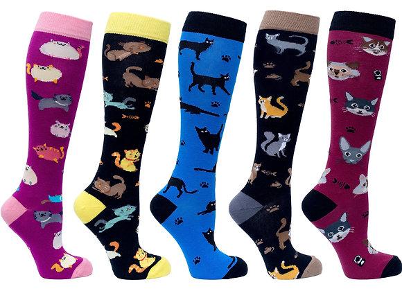 Women's Cute Cats Knee High Socks Set of 5