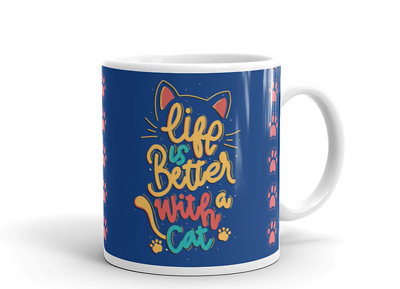 Life is Better with a Cat Blue Mug