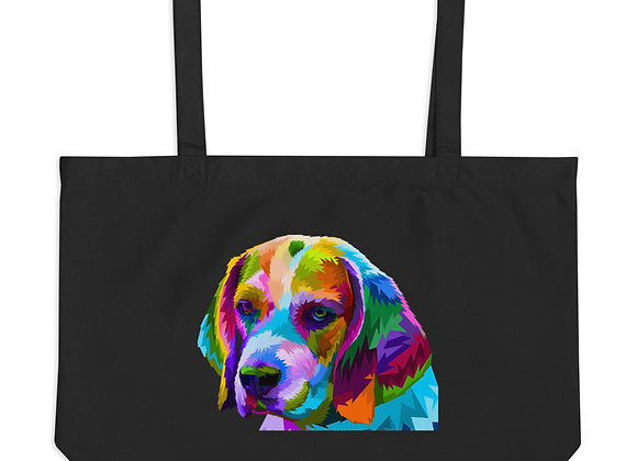 Colorful Dog Large organic tote bag