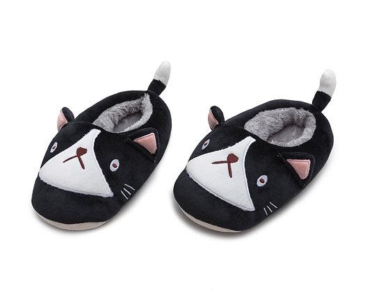 Cat Plushie Slippers - Black