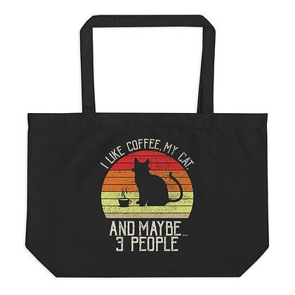 Cats & Coffee Large organic tote bag