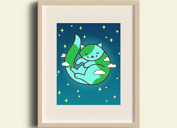Earth Cat Art Print Planet Purrth