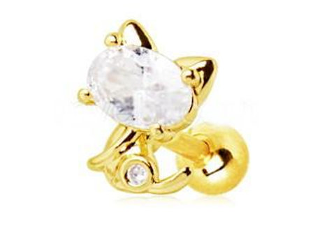 Gold Jeweled Kitty Cat Cartilage Earring