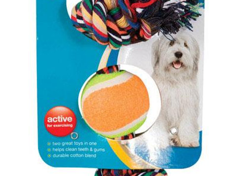 Multicolored  Rope Bone and Ball  Cotton  Dog Toy