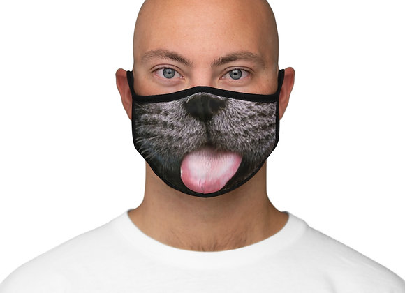 Grey Cat Face Fitted Polyester Face Mask