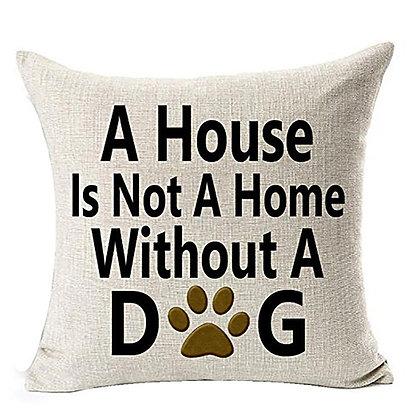 Dog Home Cotton Linen Throw Pillow
