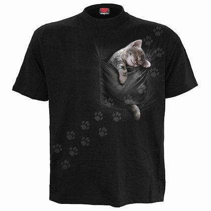 POCKET KITTEN - Front Print T-Shirt Black