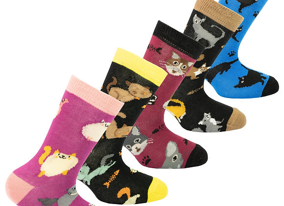 Kids Cute Cats Socks Set of 5