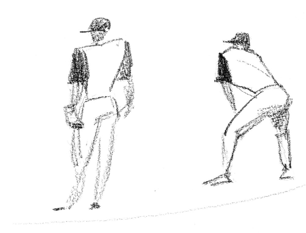 Pencil sketch of baseball players in the field by Sophie Grillet