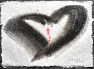 Ink heart painting by Sophie Grillet