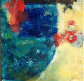 In at the Deep End bright colored painting, deep blue water, figure in red diving in