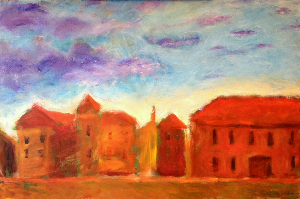 Dubrovnik at sunset. Painting by Sophie Grillet  This is the place where Game of Thrones was filmed.