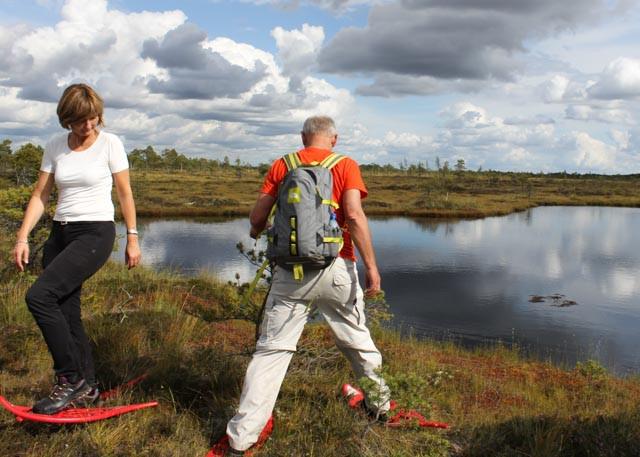 Øvelse gjør mester - på truger i Soomaa nasjonalpark.