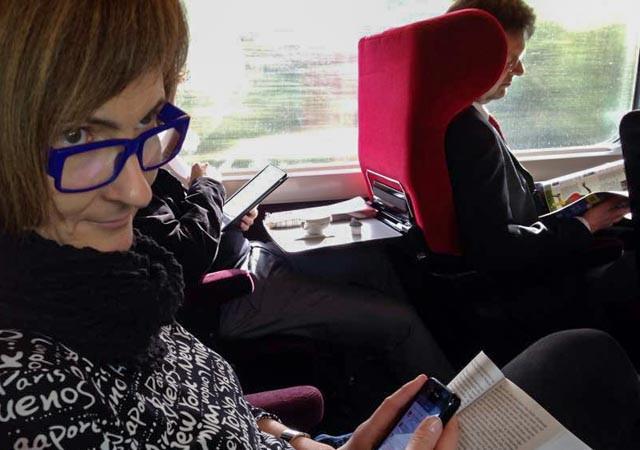 Deilig morgenstund på toget fra Køln til Paris.