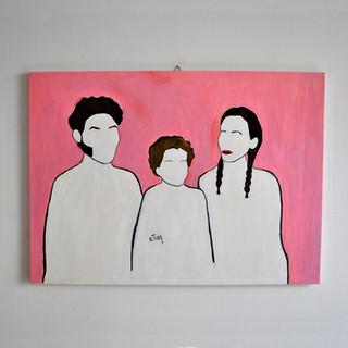 Famiglia 65 x 90 cm Olio su Tela, 2017 Esposizione Illustri Volti